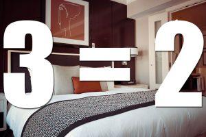 Hotel aanbieding 3=2 vanaf € 26 per kamer per nacht